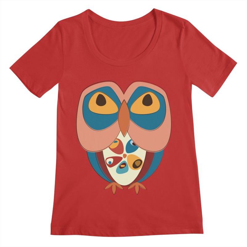 Pleading Owlet Women's Regular Scoop Neck by Runderella's Artist Shop