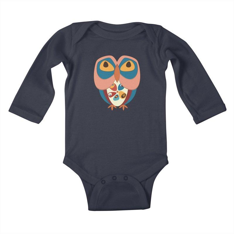 Pleading Owlet Kids Baby Longsleeve Bodysuit by Runderella's Artist Shop