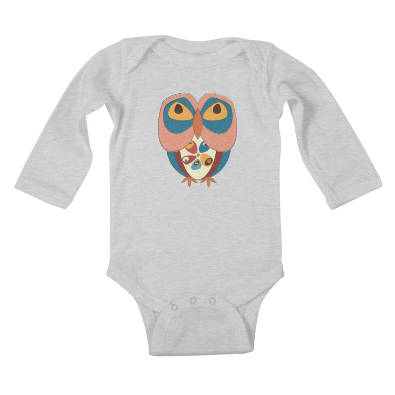 Pleading Owlet Kids Baby Longsleeve Bodysuit by Runderella's Artist Shop