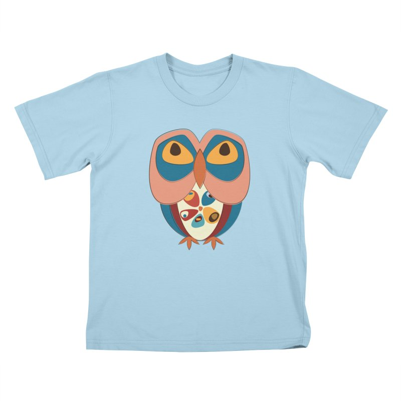 Pleading Owlet in Kids T-Shirt Powder Blue by Runderella's Artist Shop