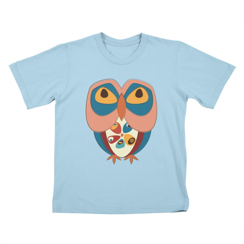 Pleading Owlet in Kids T-shirt Powder Blue by Runderella's Artist Shop