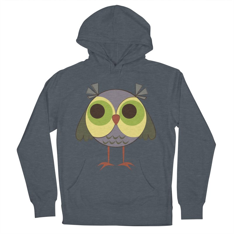 Retro Purple Owlet Women's French Terry Pullover Hoody by Runderella's Artist Shop