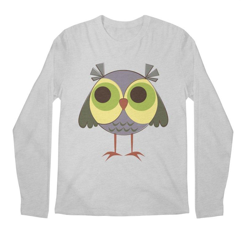 Retro Purple Owlet Men's Regular Longsleeve T-Shirt by Runderella's Artist Shop
