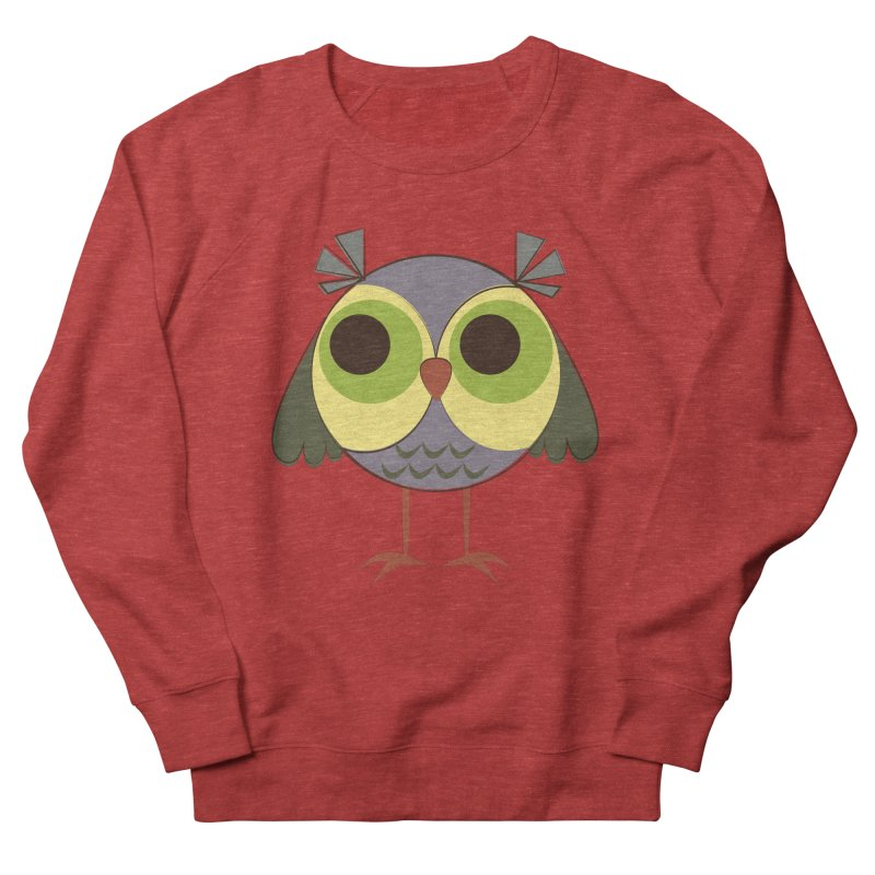 Retro Purple Owlet Women's French Terry Sweatshirt by Runderella's Artist Shop