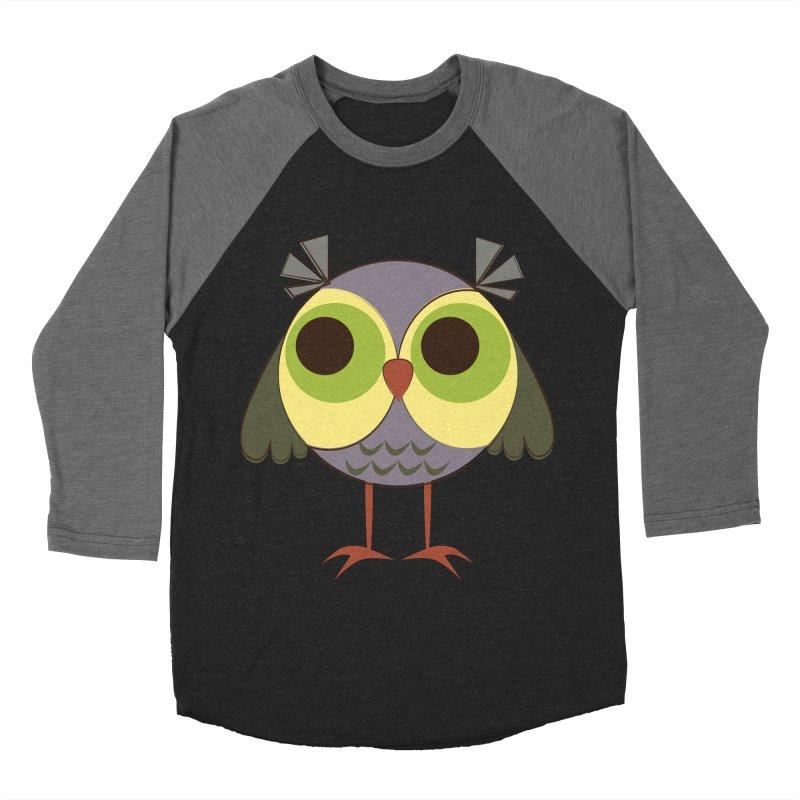Retro Purple Owlet Women's Baseball Triblend Longsleeve T-Shirt by Runderella's Artist Shop