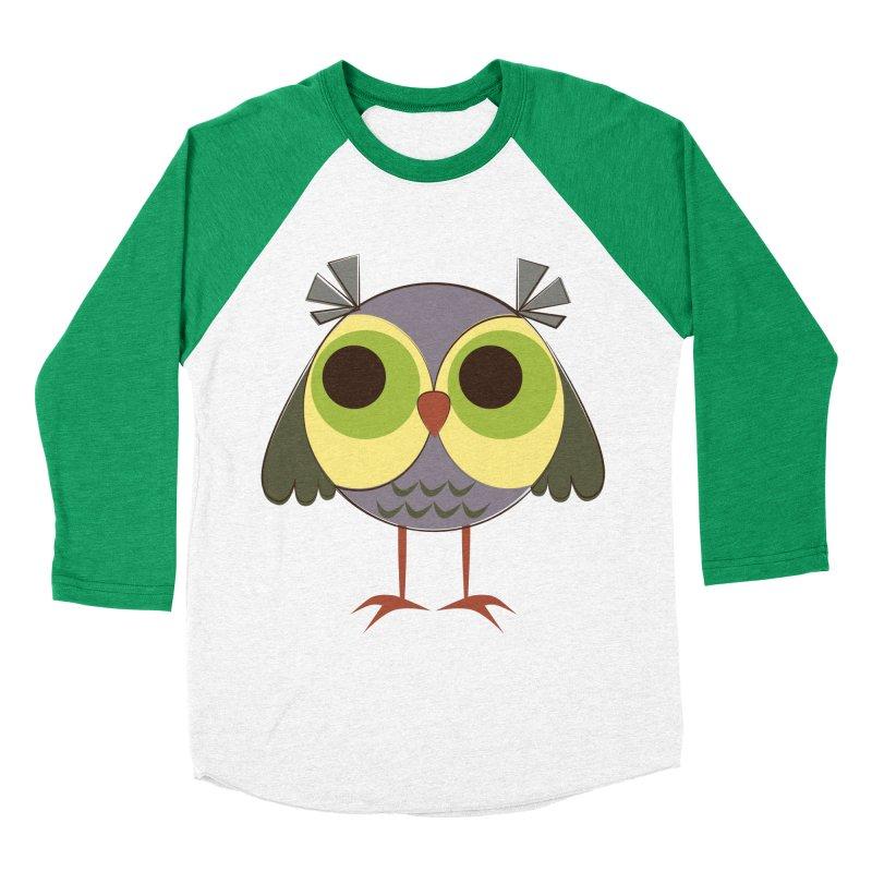 Retro Purple Owlet Men's Baseball Triblend Longsleeve T-Shirt by Runderella's Artist Shop