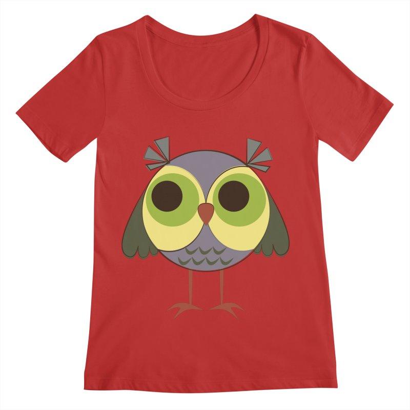 Retro Purple Owlet Women's Regular Scoop Neck by Runderella's Artist Shop