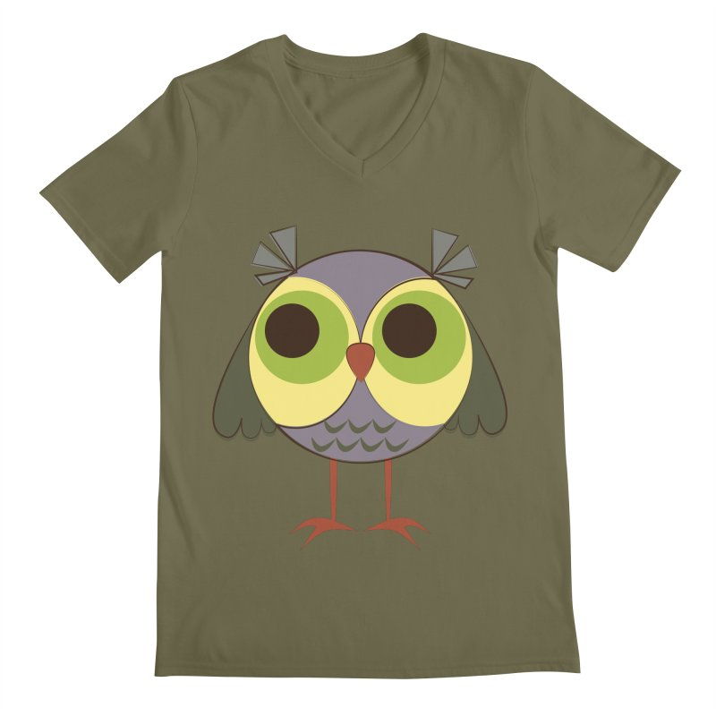 Retro Purple Owlet Men's Regular V-Neck by Runderella's Artist Shop