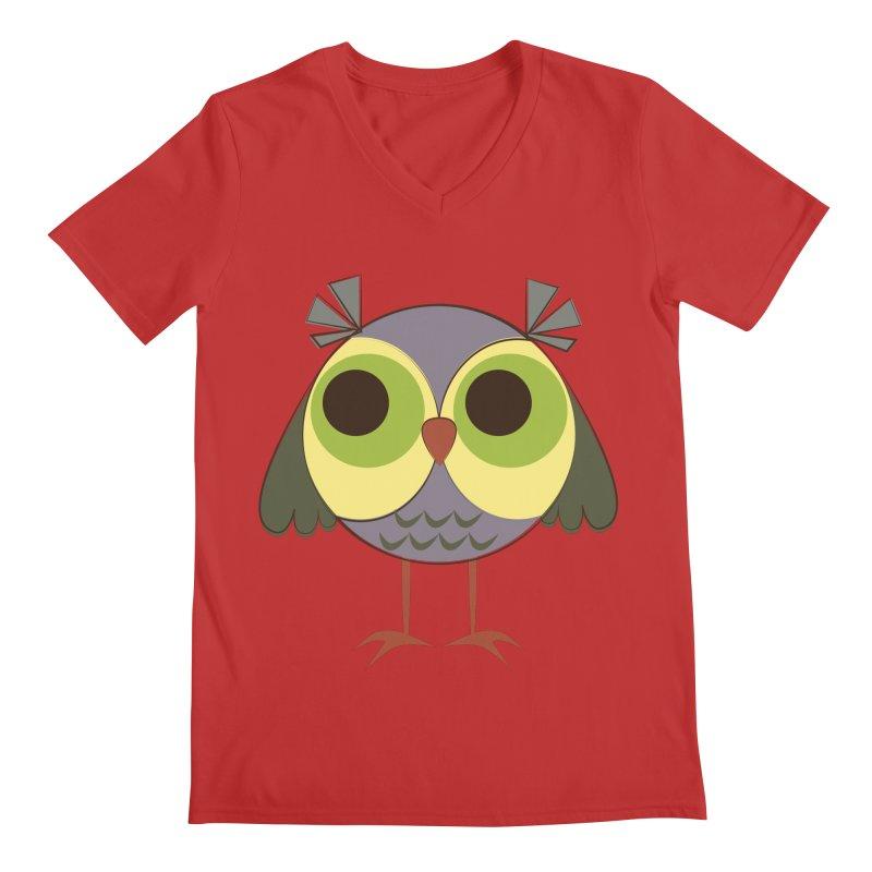 Retro Purple Owlet Men's Regular V-Neck by Runderella's Artist Shop