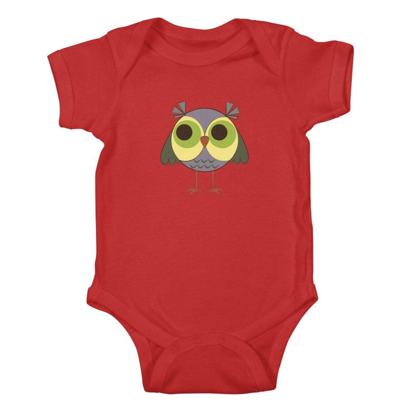 Retro Purple Owlet Kids Baby Bodysuit by Runderella's Artist Shop