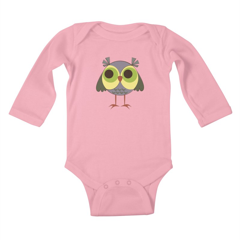 Retro Purple Owlet Kids Baby Longsleeve Bodysuit by Runderella's Artist Shop