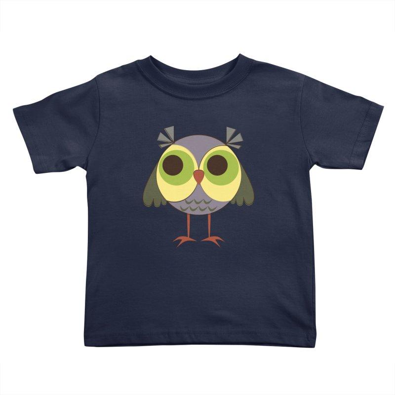 Retro Purple Owlet Kids Toddler T-Shirt by Runderella's Artist Shop