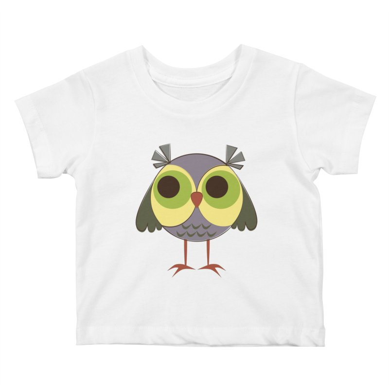 Retro Purple Owlet Kids Baby T-Shirt by Runderella's Artist Shop