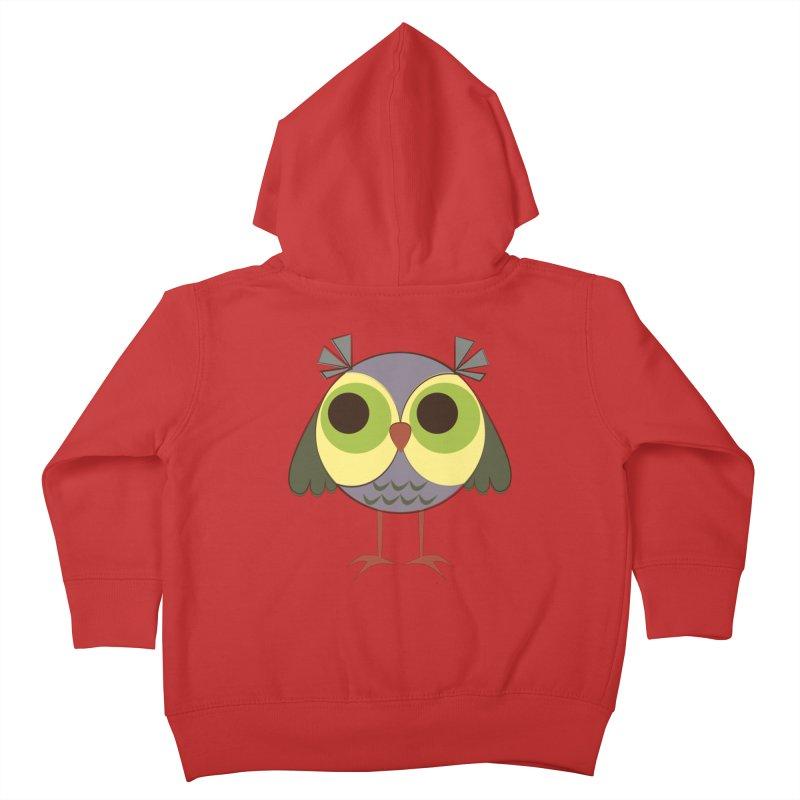 Retro Purple Owlet Kids Toddler Zip-Up Hoody by Runderella's Artist Shop