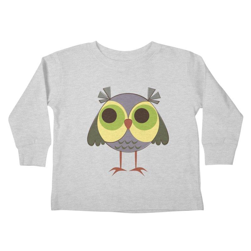 Retro Purple Owlet Kids Toddler Longsleeve T-Shirt by Runderella's Artist Shop