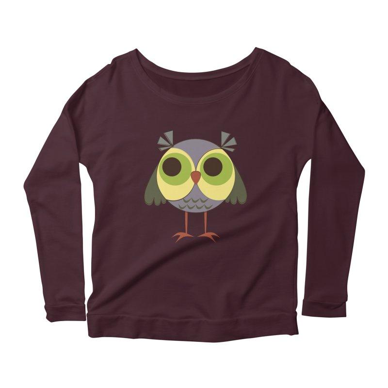 Retro Purple Owlet Women's Scoop Neck Longsleeve T-Shirt by Runderella's Artist Shop