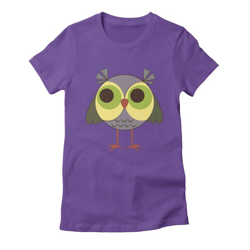 Retro Purple Owlet Women's Fitted T-Shirt by Runderella's Artist Shop