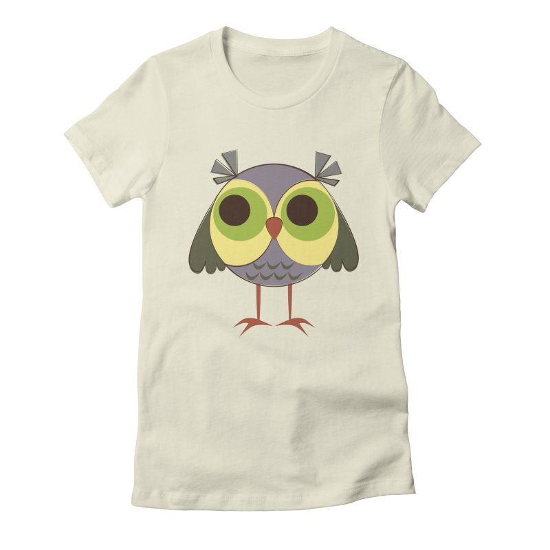 Retro Purple Owlet Women's Fitted T-Shirt by Runderella's Artist Shop