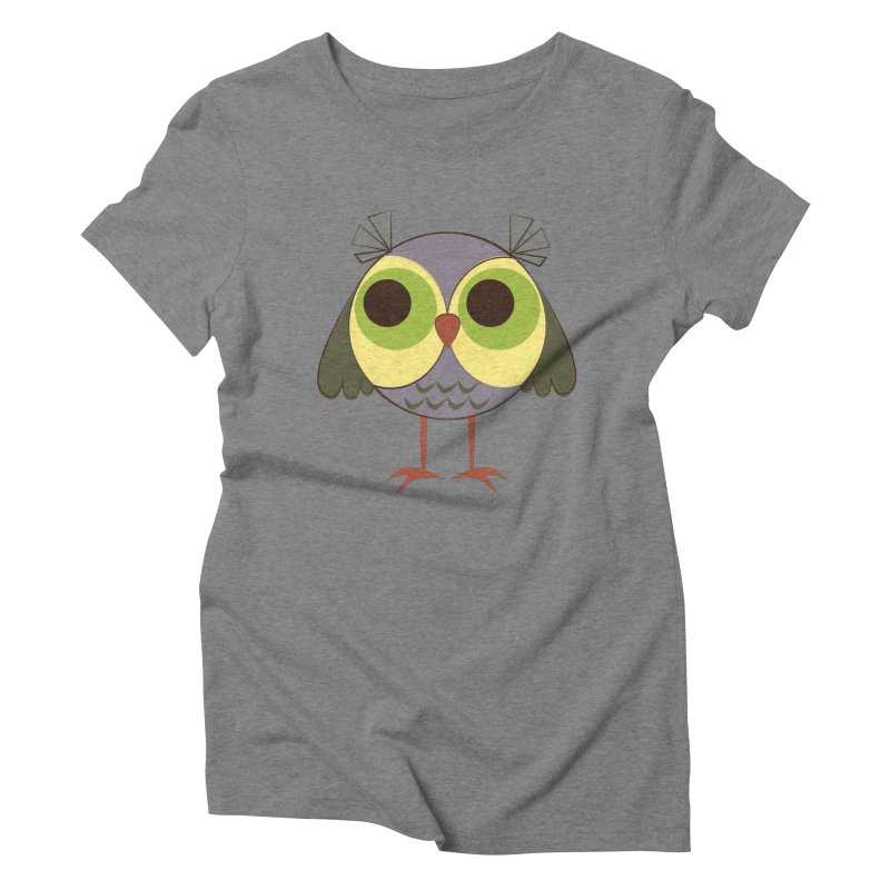 Retro Purple Owlet Women's Triblend T-Shirt by Runderella's Artist Shop