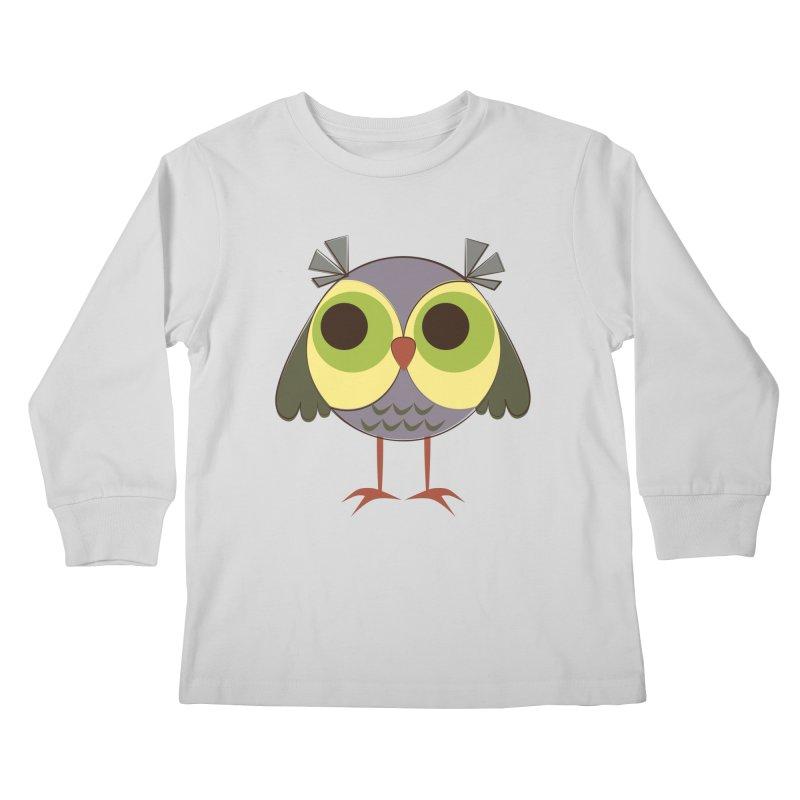 Retro Purple Owlet Kids Longsleeve T-Shirt by Runderella's Artist Shop