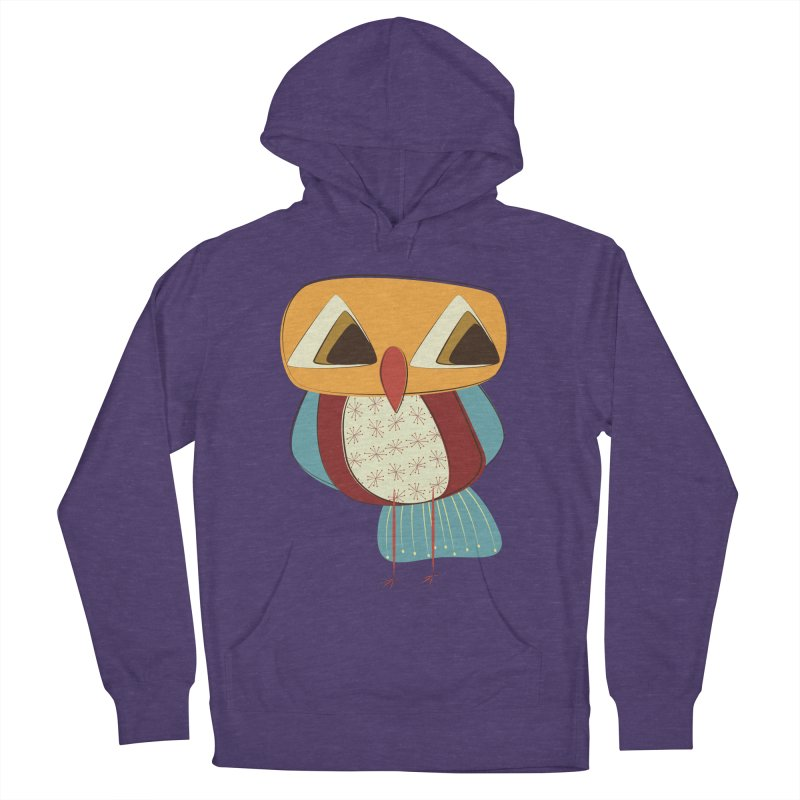 Sad Retro Owl Women's French Terry Pullover Hoody by Runderella's Artist Shop