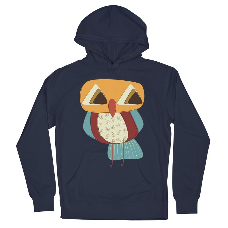 Sad Retro Owl Men's French Terry Pullover Hoody by Runderella's Artist Shop