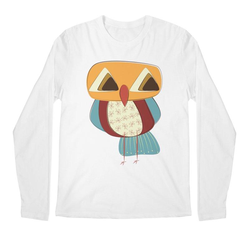 Sad Retro Owl Men's Regular Longsleeve T-Shirt by Runderella's Artist Shop
