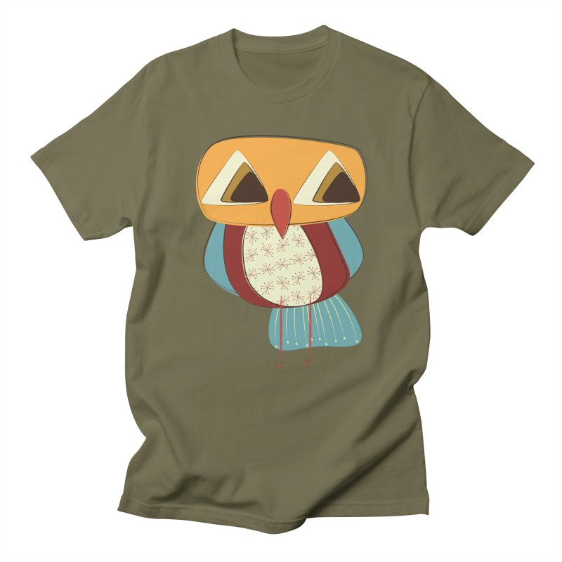 Sad Retro Owl in Men's Regular T-Shirt Olive by Runderella's Artist Shop