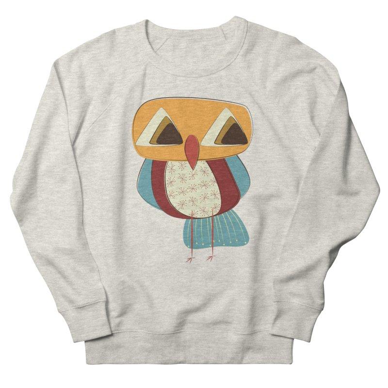 Sad Retro Owl Men's French Terry Sweatshirt by Runderella's Artist Shop