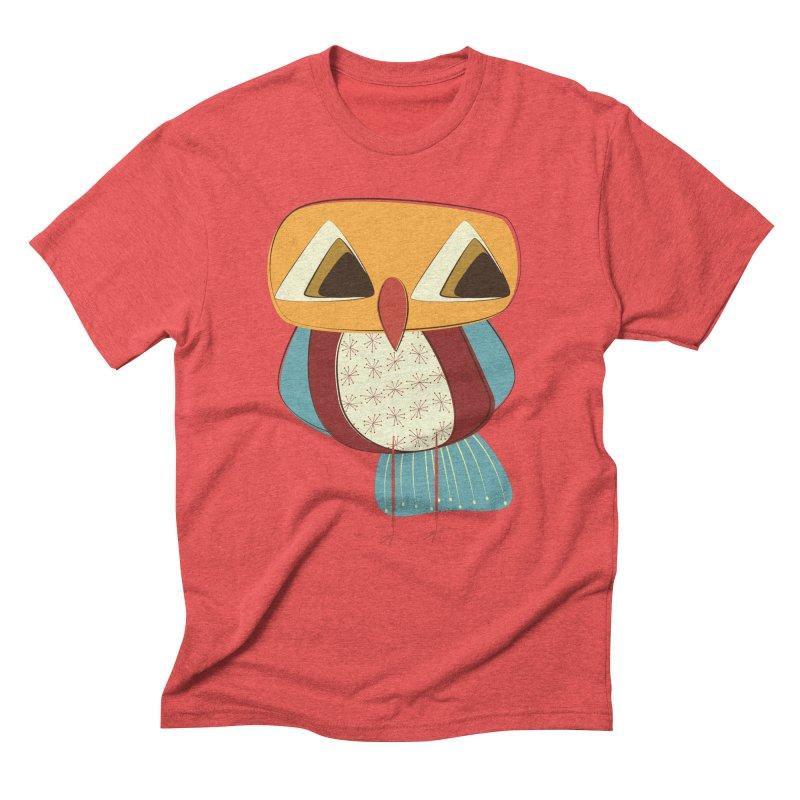 Sad Retro Owl Men's Triblend T-Shirt by Runderella's Artist Shop
