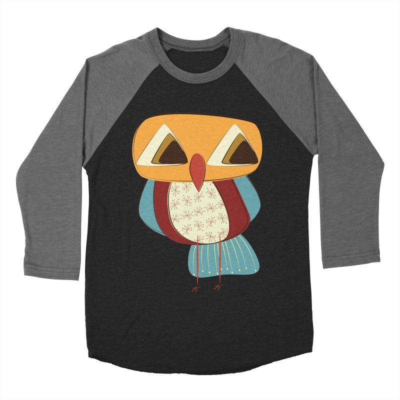 Sad Retro Owl Women's Baseball Triblend Longsleeve T-Shirt by Runderella's Artist Shop