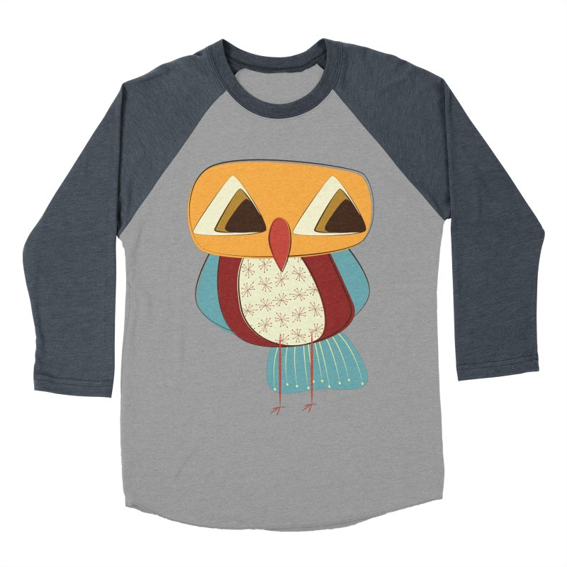 Sad Retro Owl Men's Baseball Triblend Longsleeve T-Shirt by Runderella's Artist Shop
