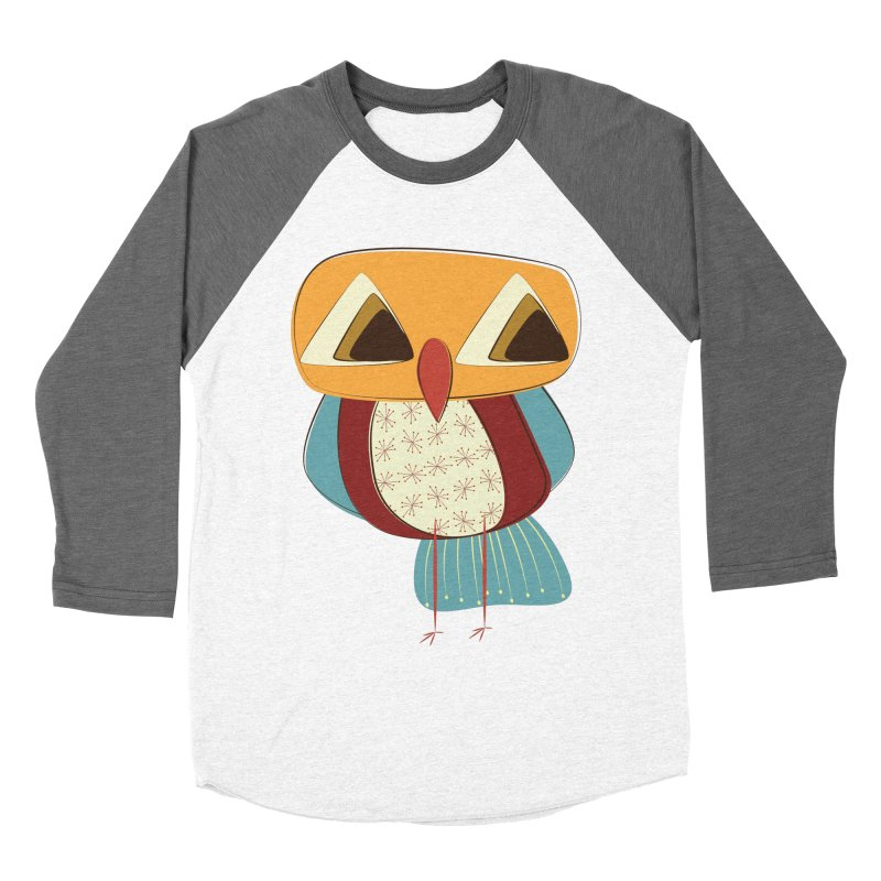 Sad Retro Owl Men's Baseball Triblend Longsleeve T-Shirt by Runderella's Artist Shop