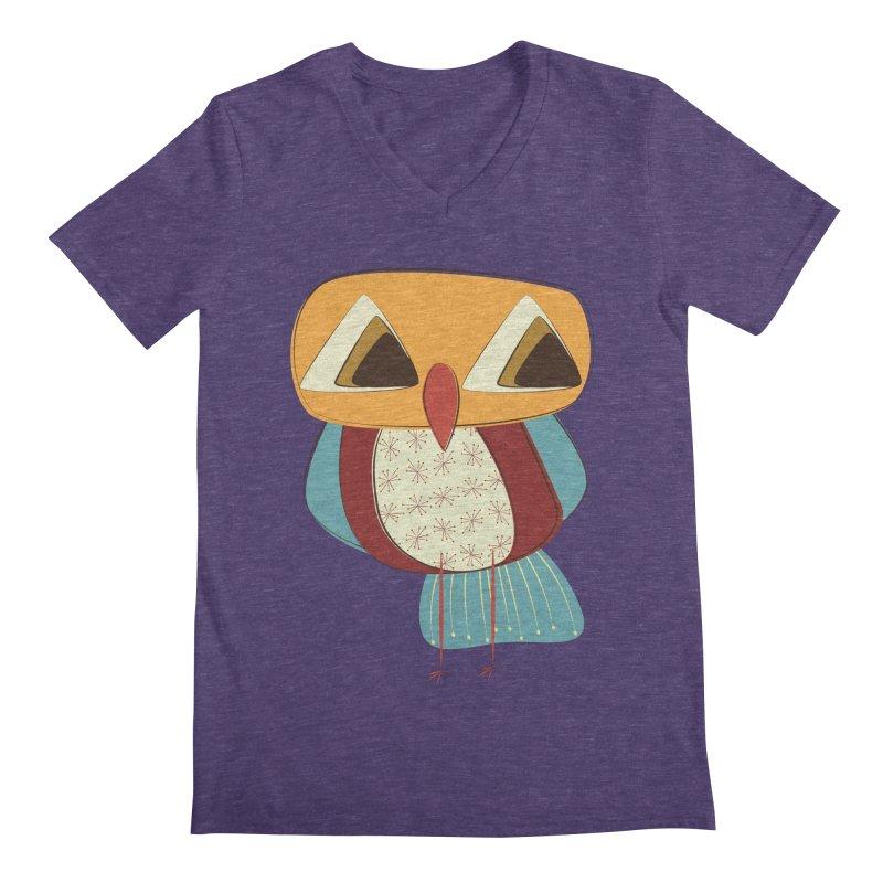 Sad Retro Owl Men's Regular V-Neck by Runderella's Artist Shop