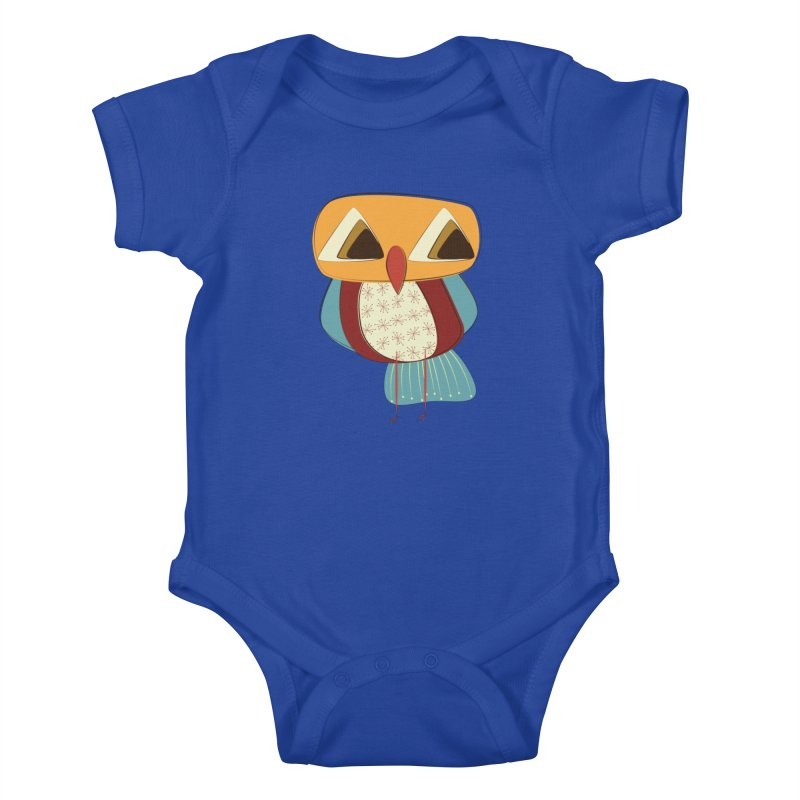 Sad Retro Owl Kids Baby Bodysuit by Runderella's Artist Shop