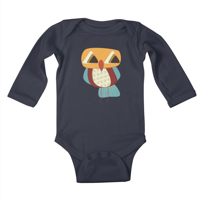Sad Retro Owl Kids Baby Longsleeve Bodysuit by Runderella's Artist Shop