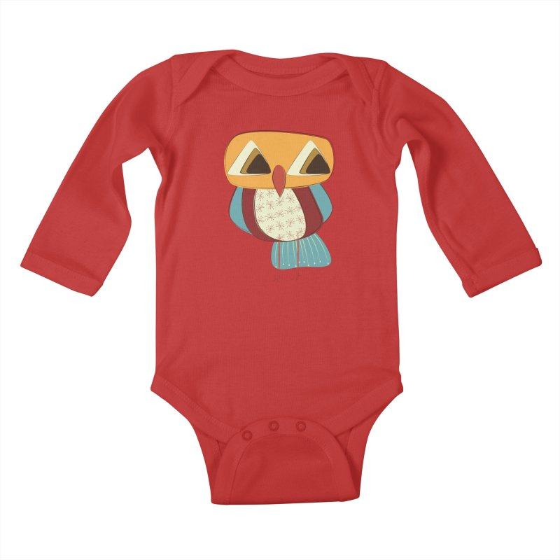 Sad Retro Owl Kids Baby Longsleeve Bodysuit by Runderella's Artist Shop