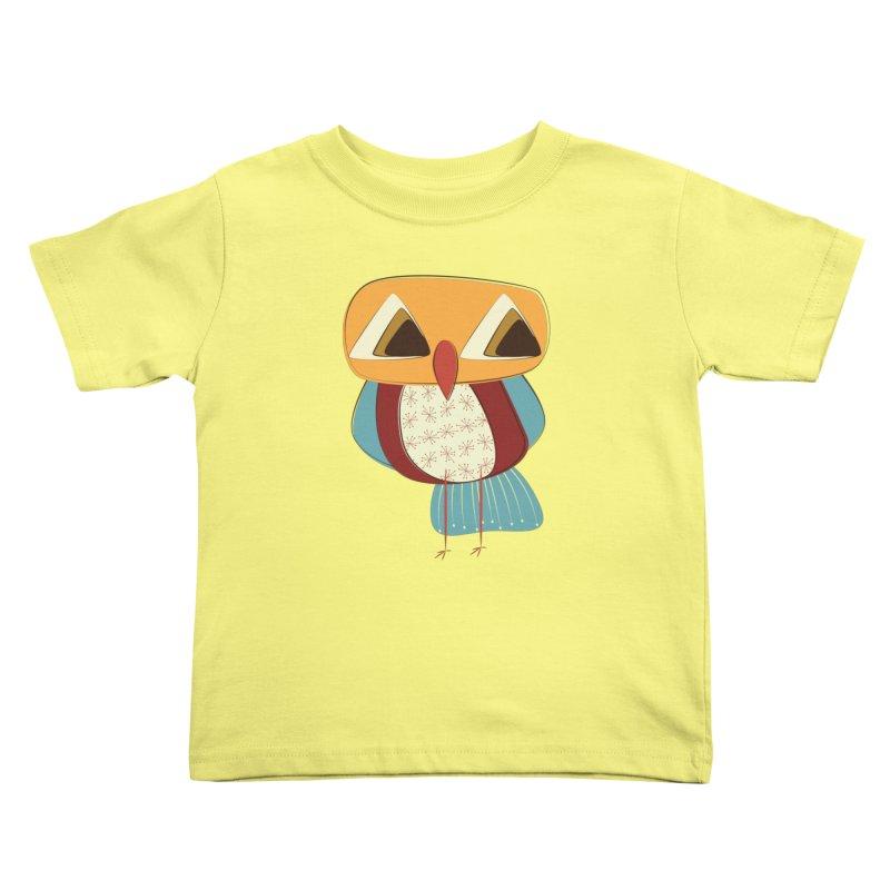 Sad Retro Owl Kids Toddler T-Shirt by Runderella's Artist Shop