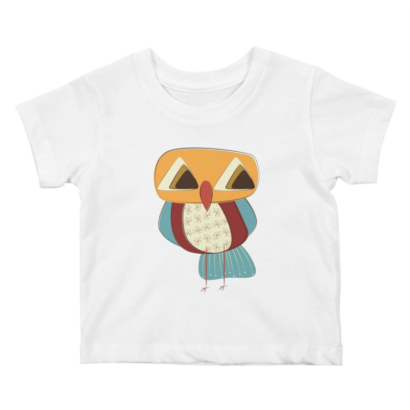 Sad Retro Owl Kids Baby T-Shirt by Runderella's Artist Shop