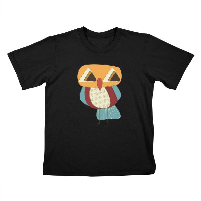 Sad Retro Owl Kids T-Shirt by Runderella's Artist Shop