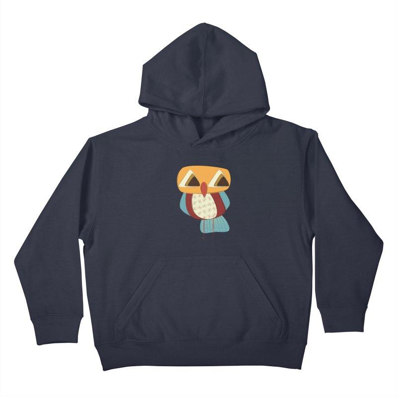 Sad Retro Owl Kids Pullover Hoody by Runderella's Artist Shop