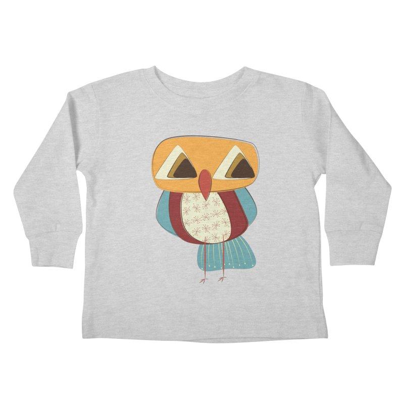Sad Retro Owl Kids Toddler Longsleeve T-Shirt by Runderella's Artist Shop
