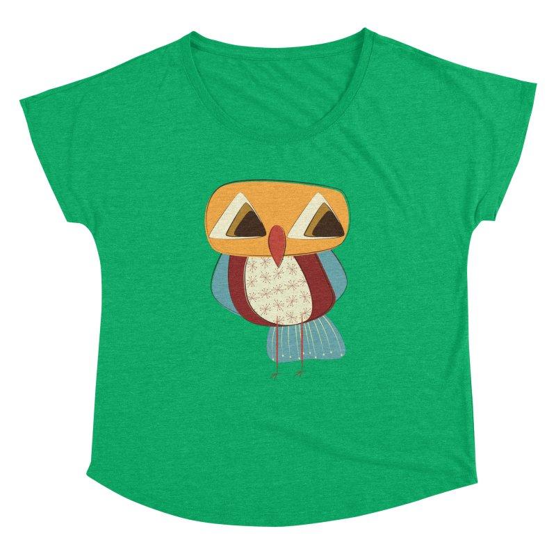 Sad Retro Owl Women's Dolman Scoop Neck by Runderella's Artist Shop