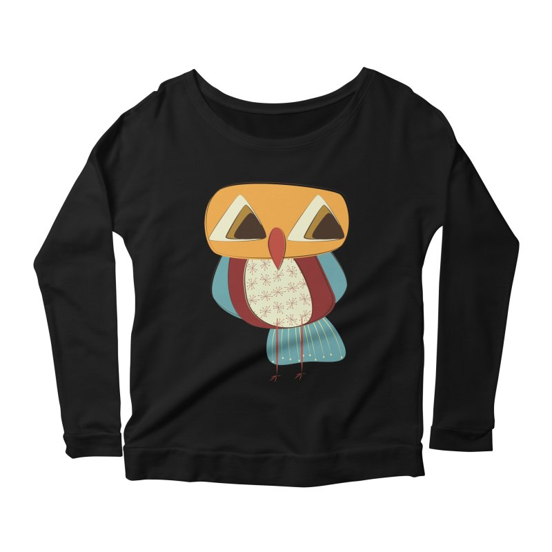 Sad Retro Owl Women's Scoop Neck Longsleeve T-Shirt by Runderella's Artist Shop