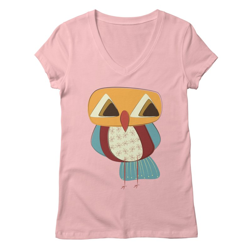Sad Retro Owl Women's Regular V-Neck by Runderella's Artist Shop