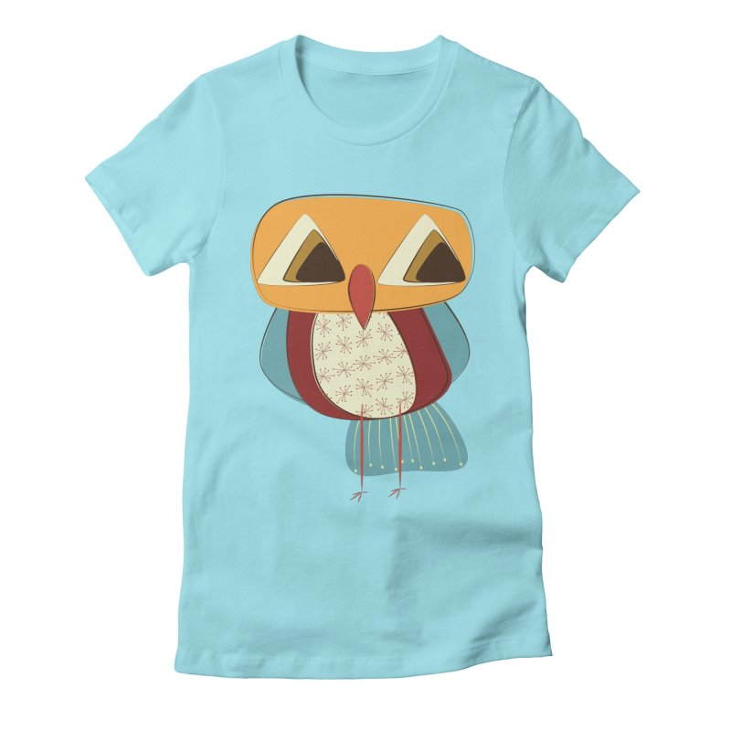 Sad Retro Owl Women's Fitted T-Shirt by Runderella's Artist Shop