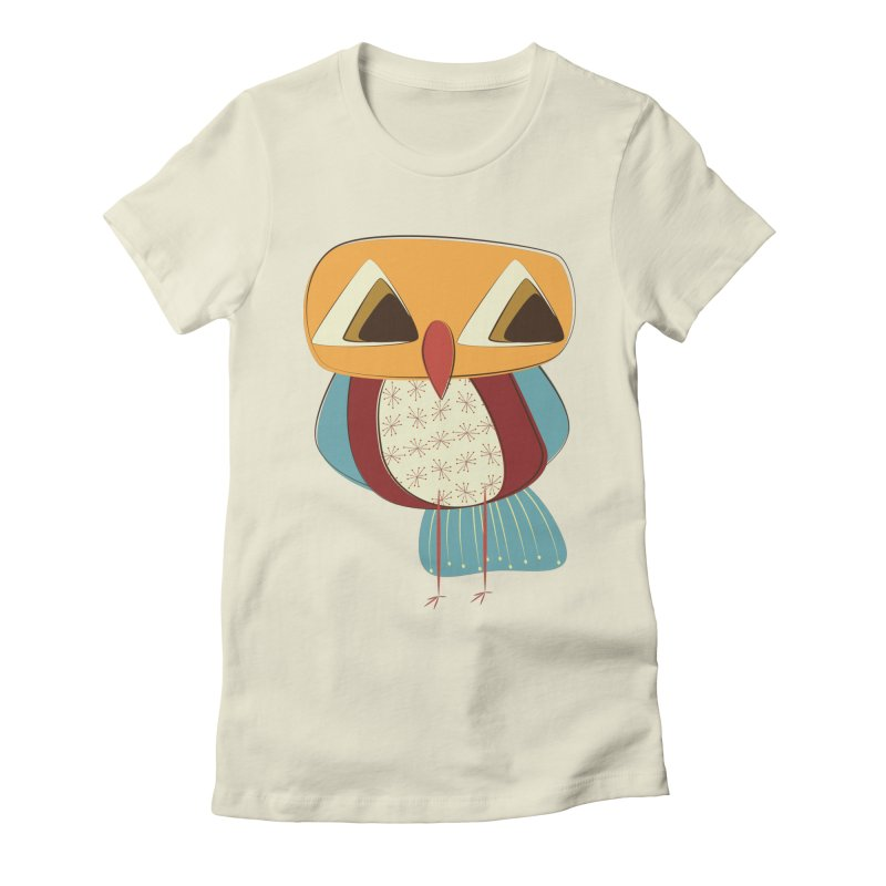 Sad Retro Owl Women's Fitted T-Shirt by Runderella's Artist Shop
