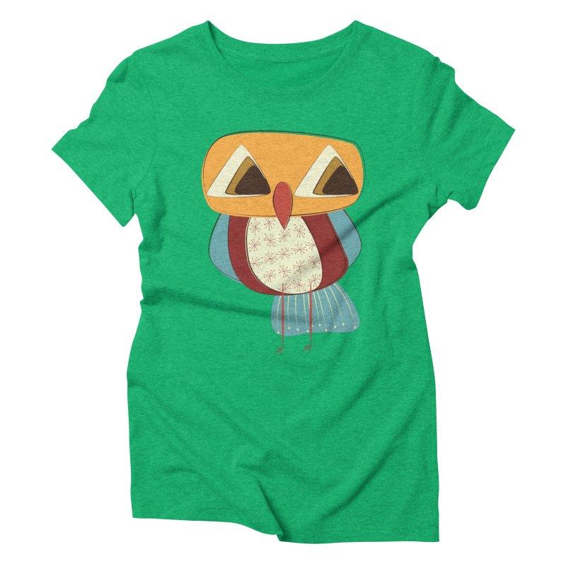 Sad Retro Owl Women's Triblend T-Shirt by Runderella's Artist Shop