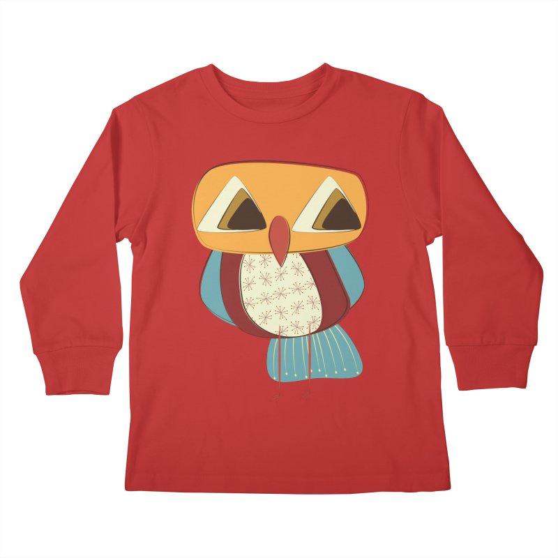 Sad Retro Owl Kids Longsleeve T-Shirt by Runderella's Artist Shop