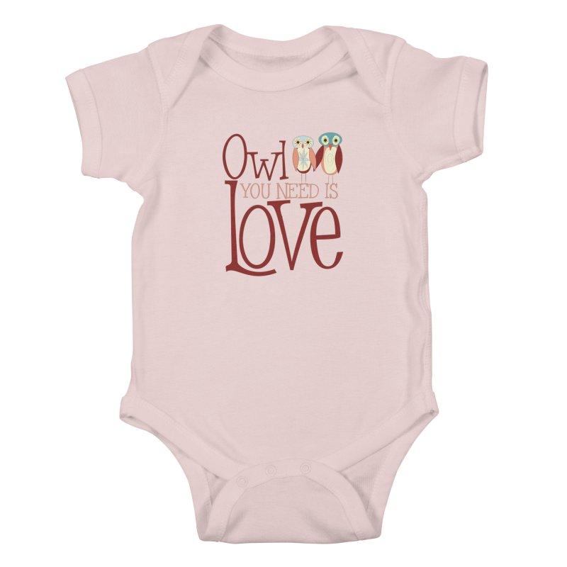 Owl You Need Is Love Kids Baby Bodysuit by Runderella's Artist Shop